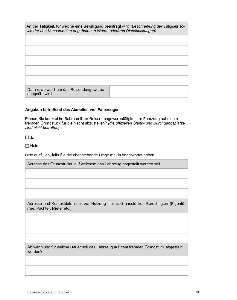 Antrag auf eine Reisendengewerbebewilligung - Statistikbulletin ...